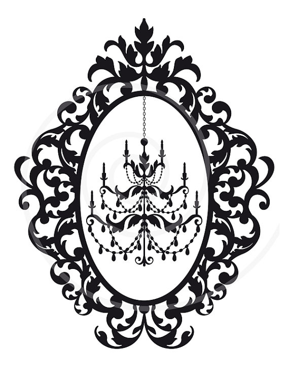 570x760 Antique Chandelier In Vintage Picture Frame Silhouette