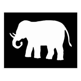 307x307 Black White Elephant Silhouette Postcards Zazzle
