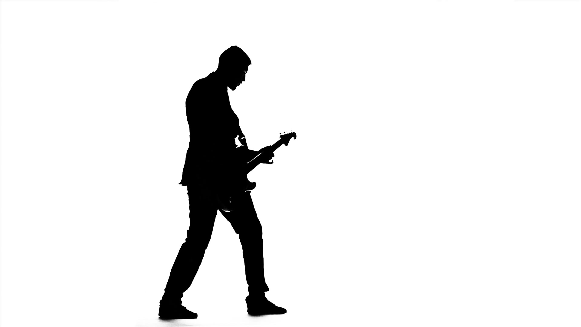 1920x1080 Man Plays The Melody On The Guitar. Silhouette. Slow Motion