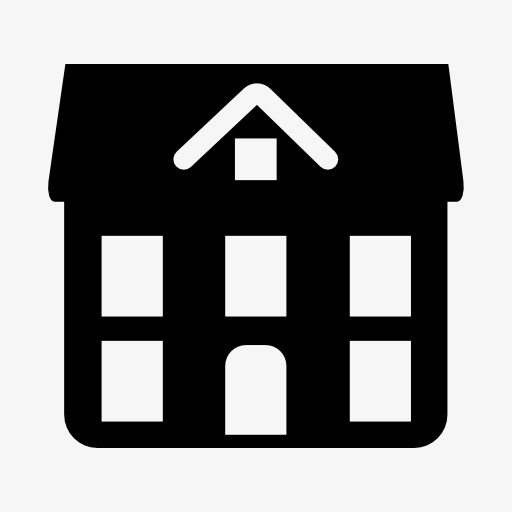 512x512 Black Silhouette, Black, White House, Black Png Image