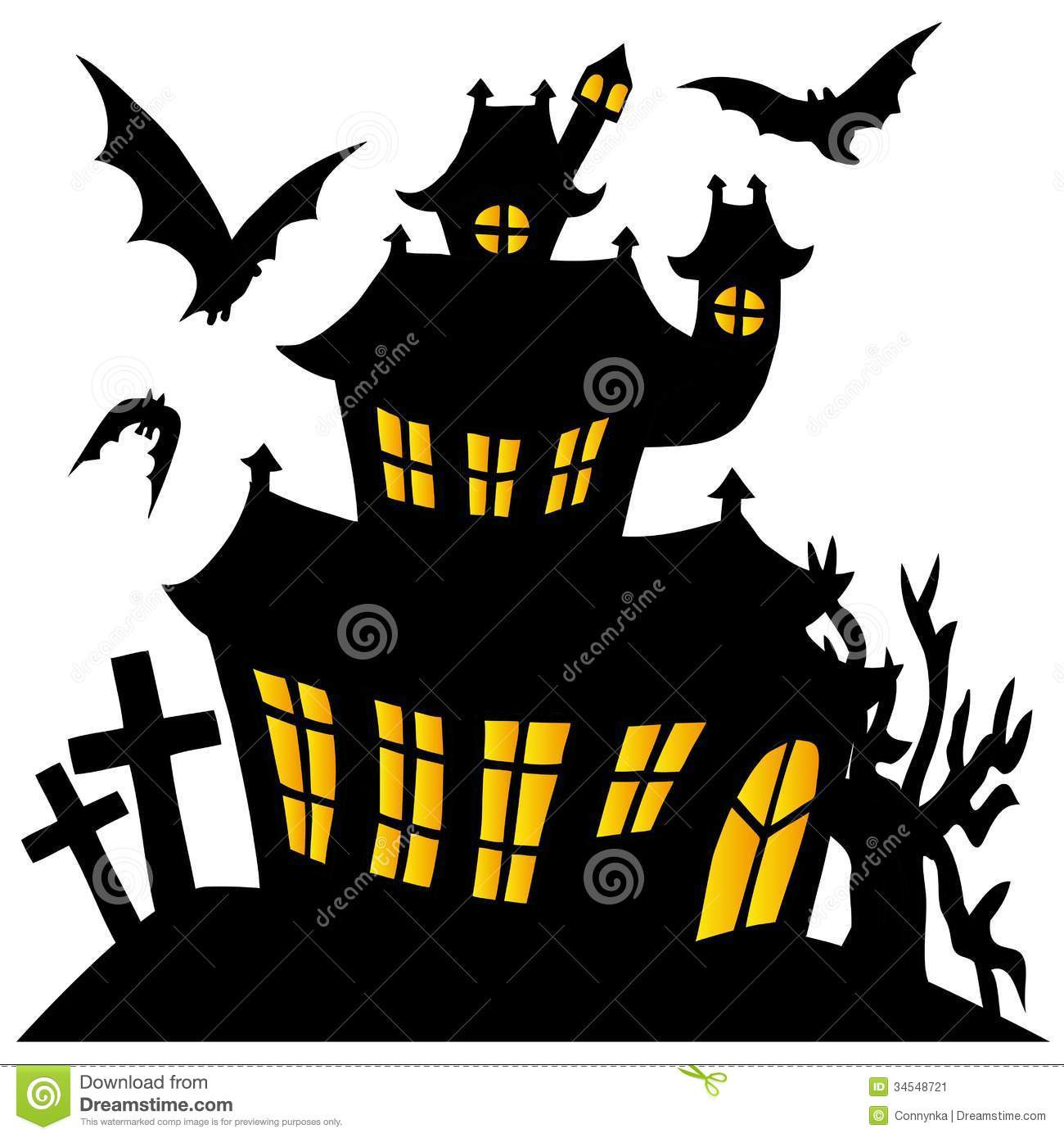 1300x1389 Halloween Haunted House Silhouette Isolated On White Stock Vector