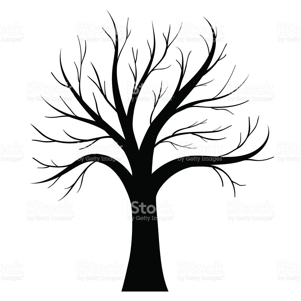1024x1024 Bare Oak Tree Silhouette