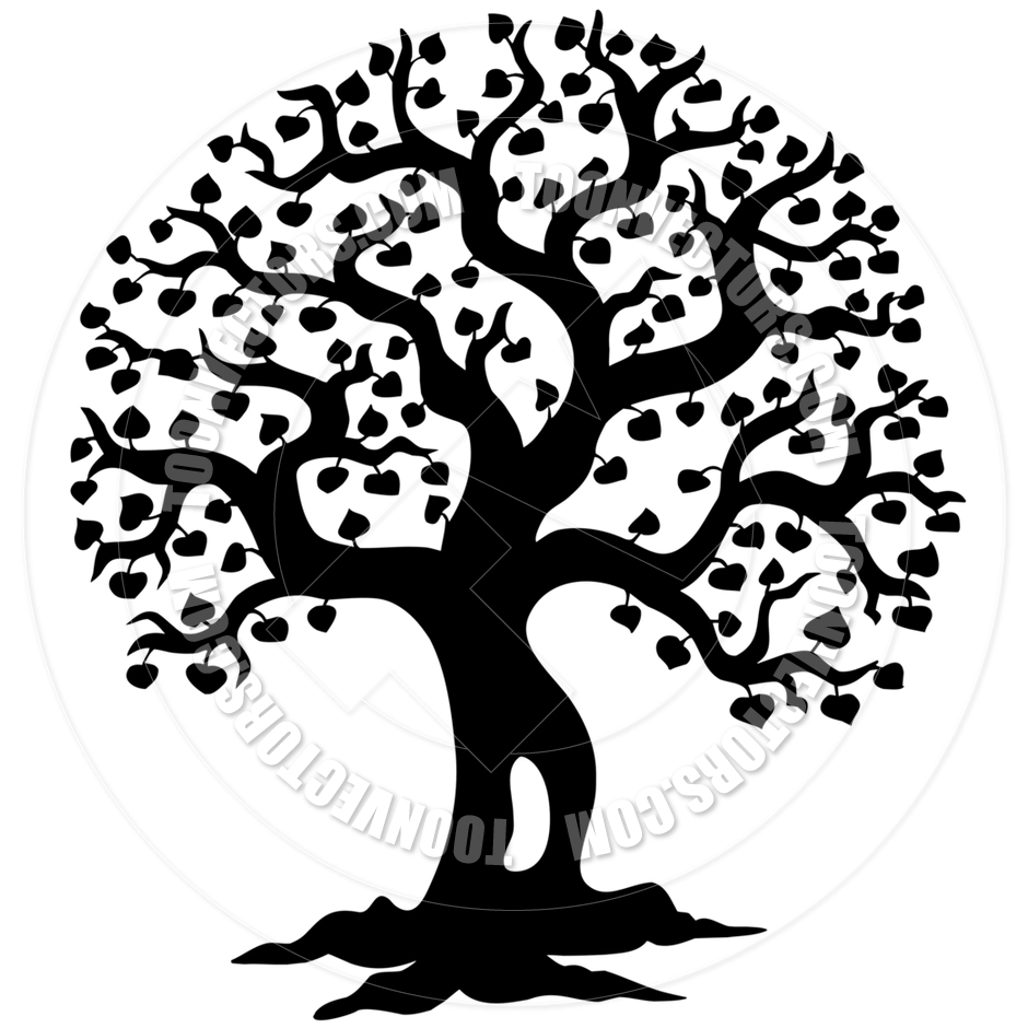 940x940 Cartoon Spring Tree Silhouette By Clairev Toon Vectors Eps