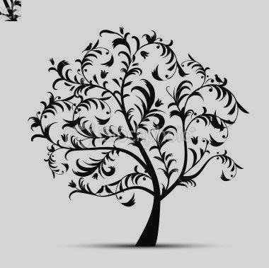 380x379 Black And White Tree Silhouette Clipart
