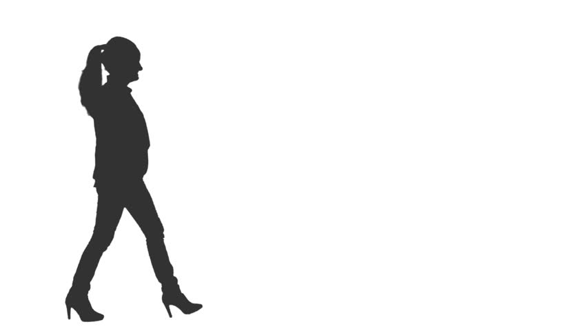 852x480 Black And White Silhouette Of Young Female Walks In The Street