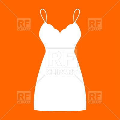 400x400 Dress White Silhouette On Orange Background Royalty Free Vector