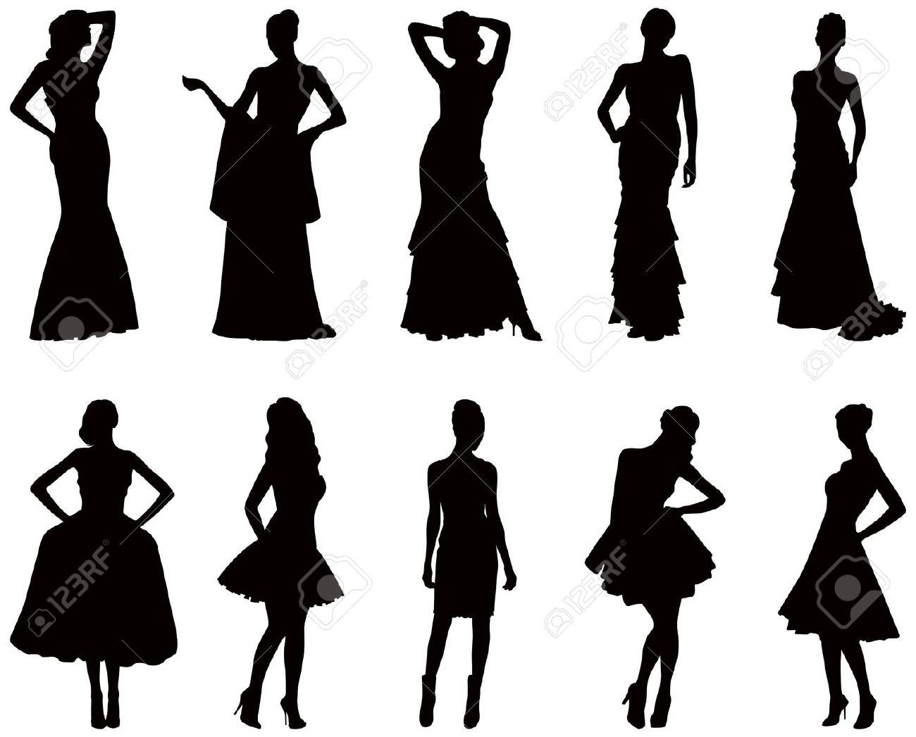 1300x1047 Silhouette Clipart Dress
