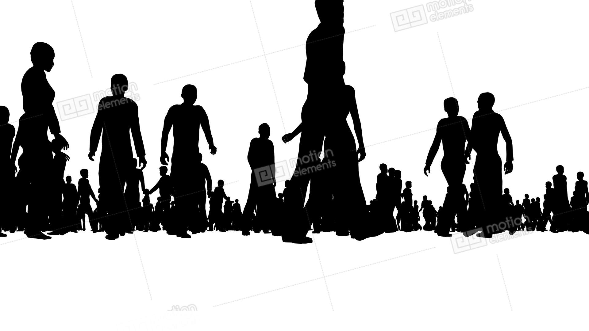 1920x1080 Crowd Of Silhouette People Moves On White Stock Video Footage