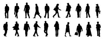 354x135 Free Vector Office People Silhouettes, Vector Graphics