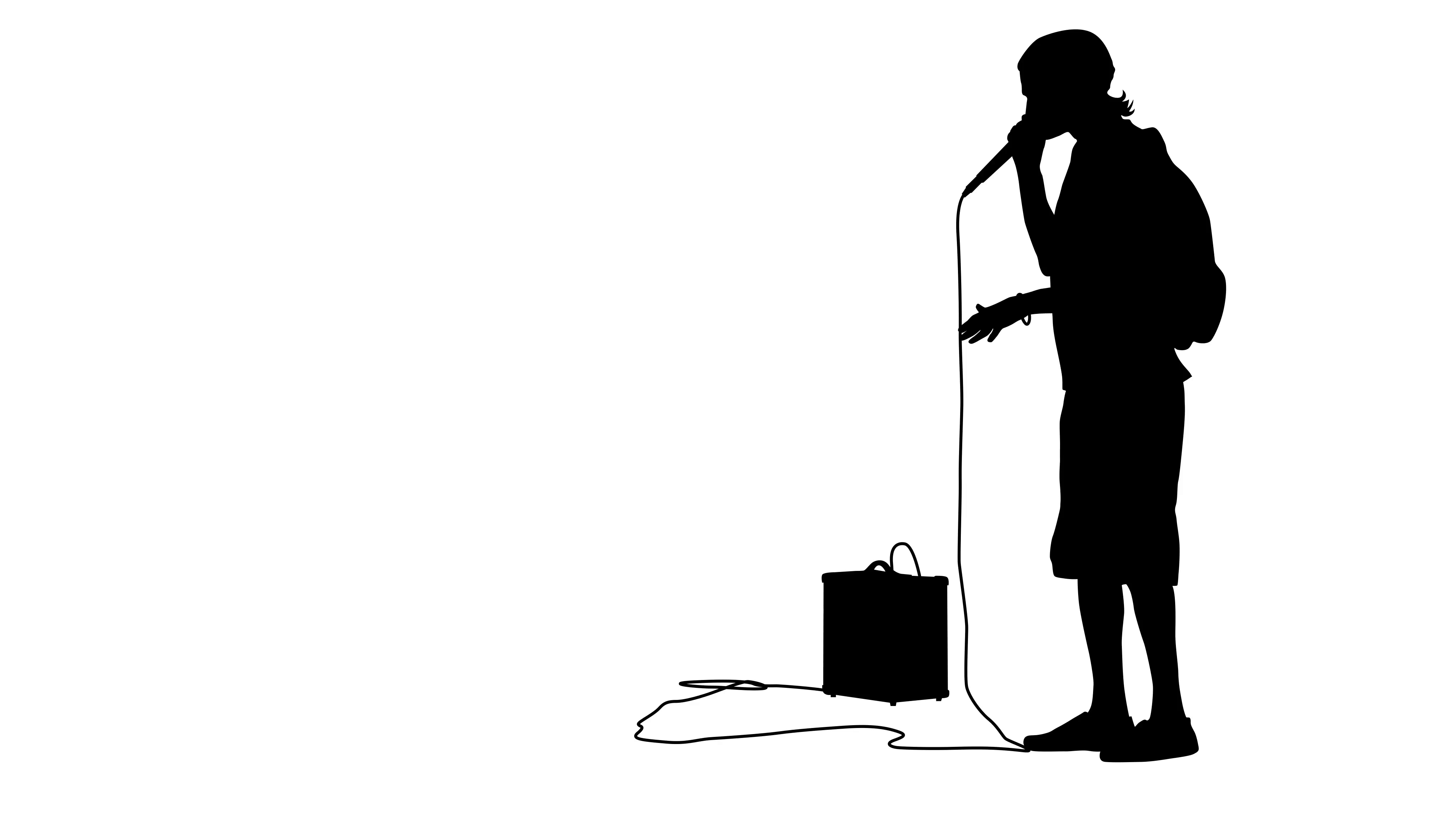 4096x2304 Silhouette Of The Guy Beatbox With A Microphone. White Screen