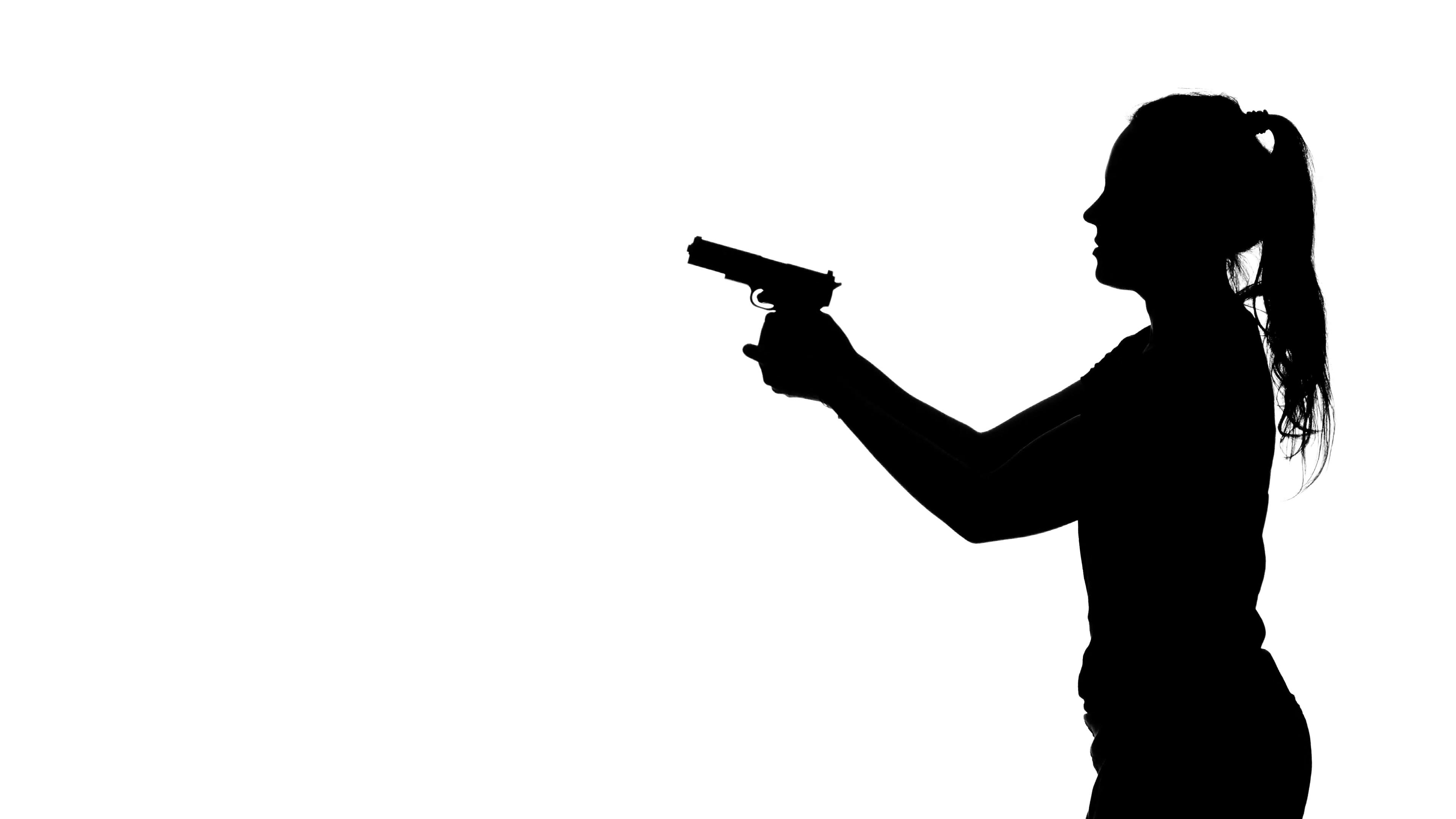 3840x2160 Woman Pointing A Gun. Silhouette. White Stock Video Footage