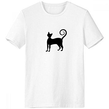 355x355 Black Cat Meow Elegant Cute Animal Art Silhouette Crew Neck White