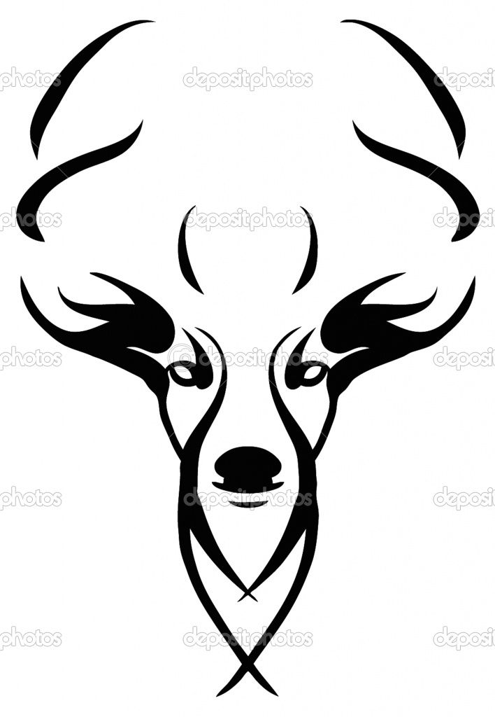 708x1024 White Tailed Deer Clipart Stag Head