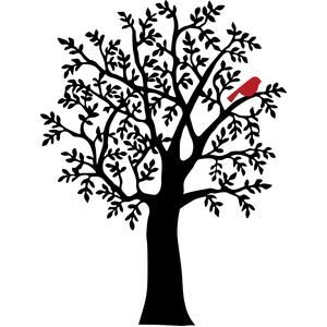 300x300 Winter Tree With Red Bird Silhouette Design, Silhouette And Cricut