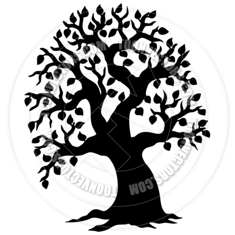 460x460 Cartoon Big Leafy Tree Silhouette By Clairev Toon Vectors Eps