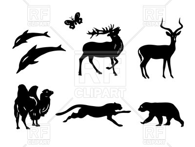 400x302 Silhouettes Of Wild Animals Royalty Free Vector Clip Art Image