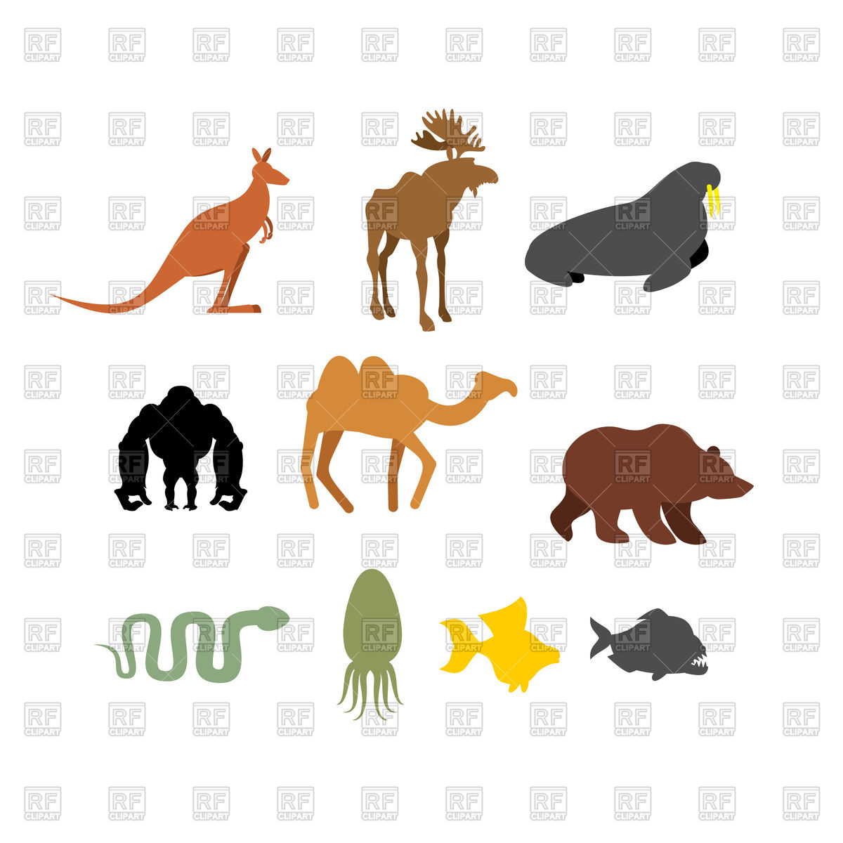 1200x1200 Set Of Wild Animals. Silhouettes. Royalty Free Vector Clip Art