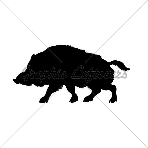 500x500 Silhouette Of The Wild Boar Isolated On White Puppets