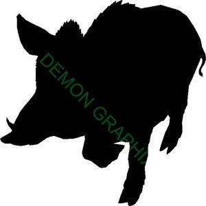 300x300 Wild Boar Silhouette Vinyl Decalsticker Truck Window Laptop Pig