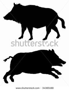 236x308 Wild Boar Silhouette In Black Cakes