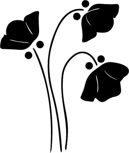 423x500 Floral Clipart Silhouette
