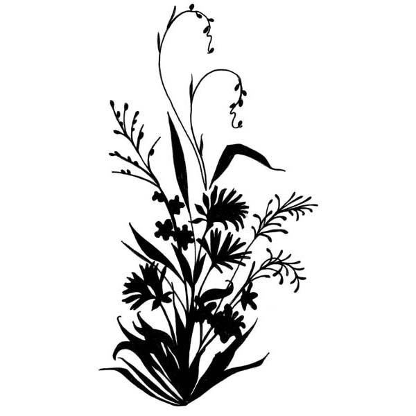 600x600 Wildflower Silhouette Rubber Stamp