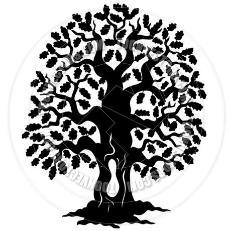 460x460 Cartoon Oak Tree Silhouette By Clairev Toon Vectors Eps