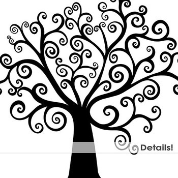 350x350 Whimsical Tree Silhouettes, Tree Illustrations Clip Art By