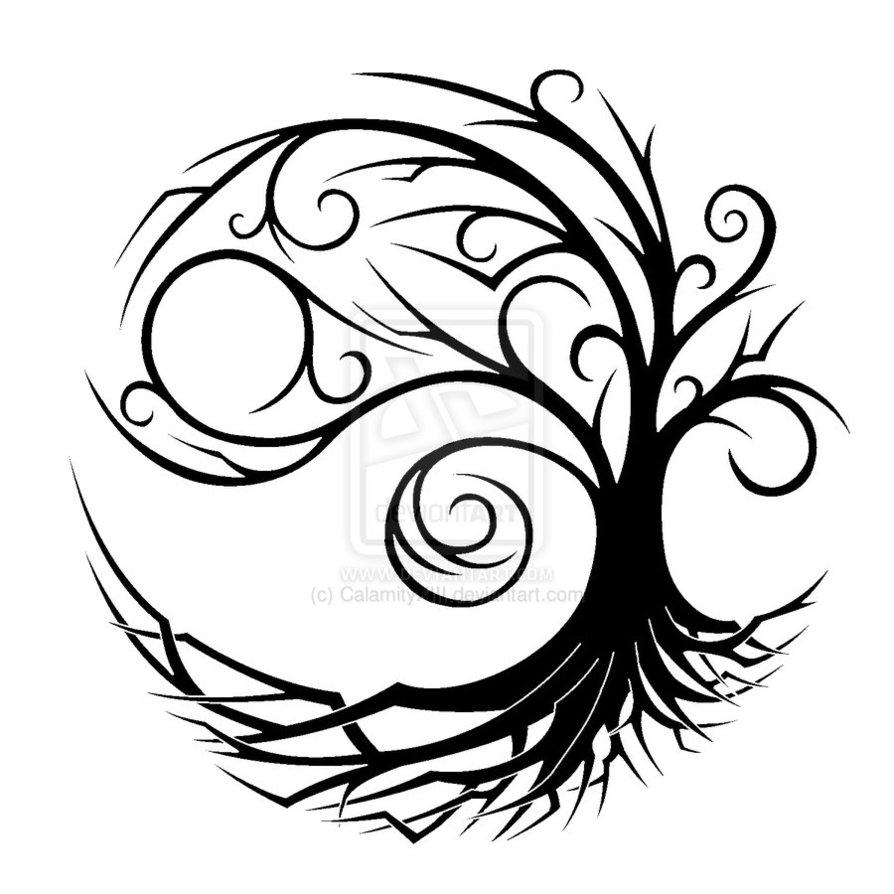 894x894 Yin Yang Tree Drawing