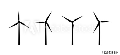 500x229 Vector Silhouettes Of Wind Turbines