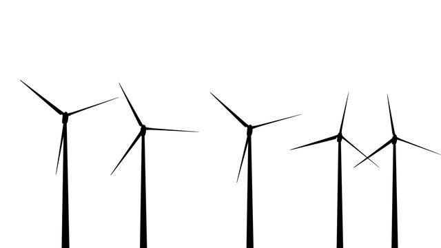 640x360 Wind Turbines Silhouette 01 Loop Stock Animation 670023