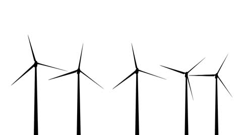 480x268 Wind Turbines Silhouette 01 Loop ~ Stock Video