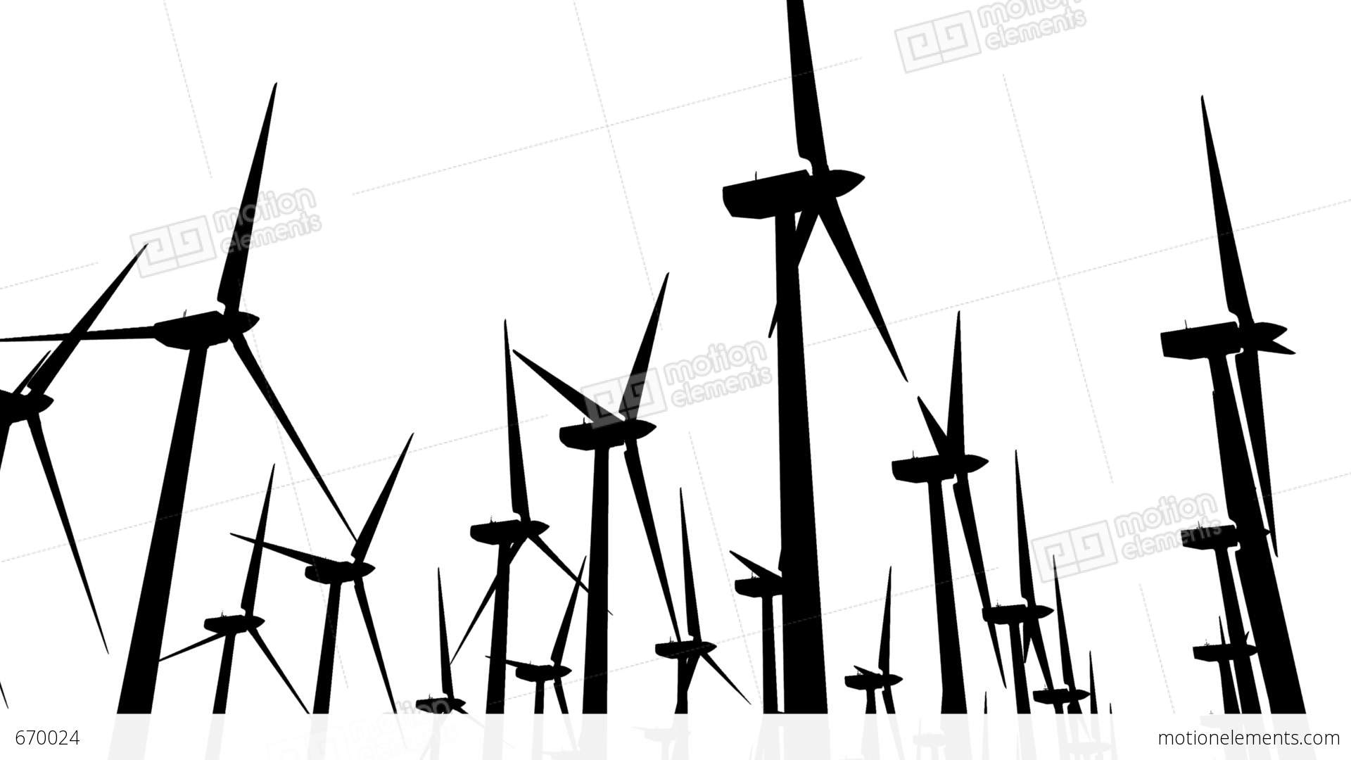 1920x1080 Wind Turbines Silhouette 04 Loop Stock Animation 670024