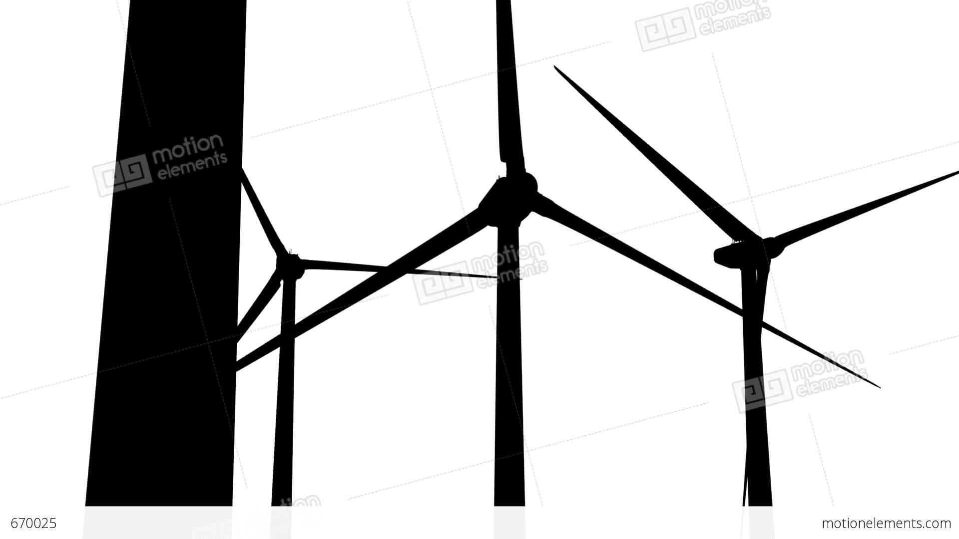 1920x1080 Wind Turbines Silhouette 05 Loop Stock Animation 670025