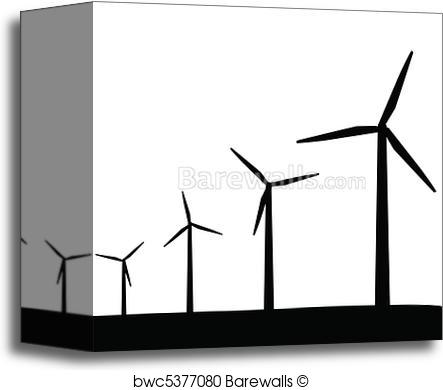 443x390 Canvas Print Of Wind Turbines Silhouette Barewalls Posters