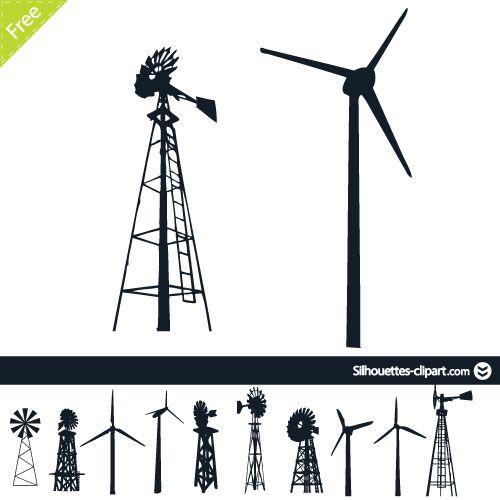 500x500 Wind Turbine Silhouette Silhouettes Silhouette