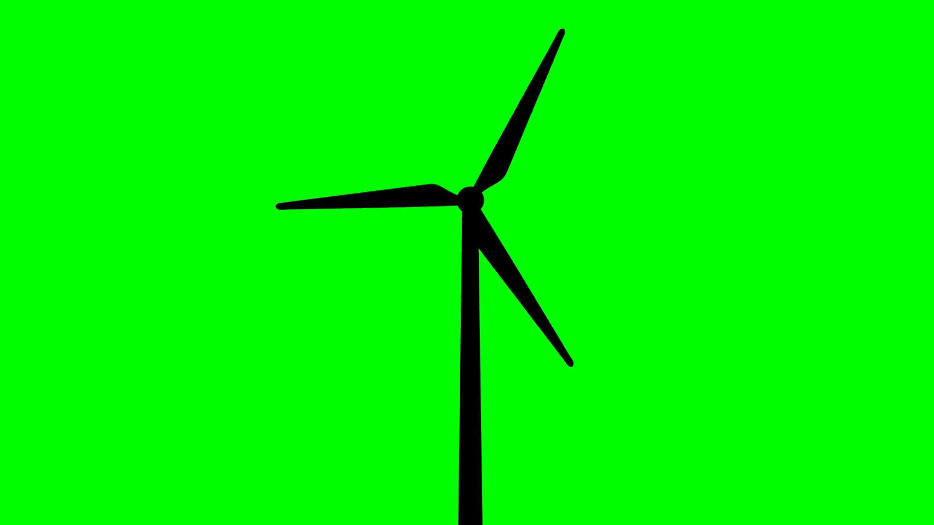 1920x1080 Wind Turbine Silhouette On Green Background Motion Background