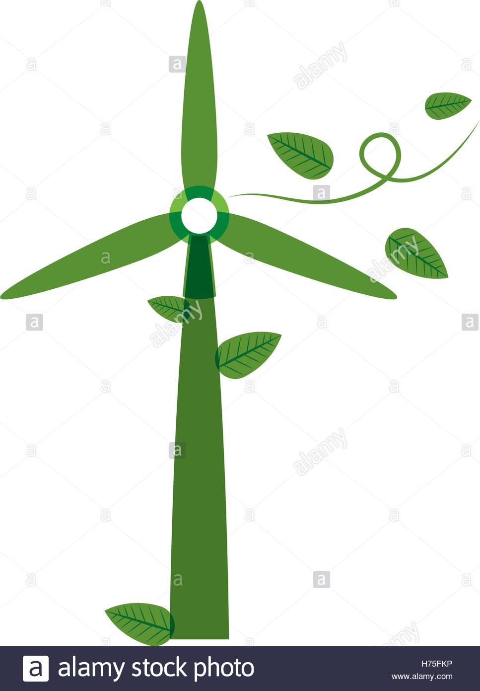967x1390 Green Silhouette Wind Power Generator With Leaves Vector
