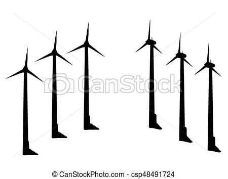 450x354 Eps 10 Vector Illustration Of Wind Turbine Silhouette On Vector