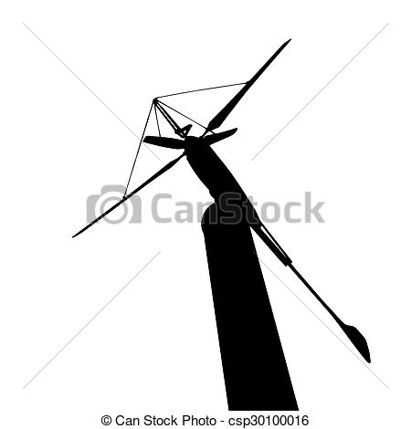 450x470 Silhouette Of Wind Turbine For Renewable Energy Isolated