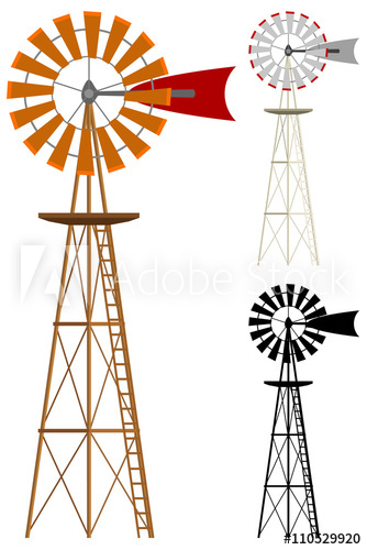 334x500 Vector Illustration Of A Windmill In Two Color Variations