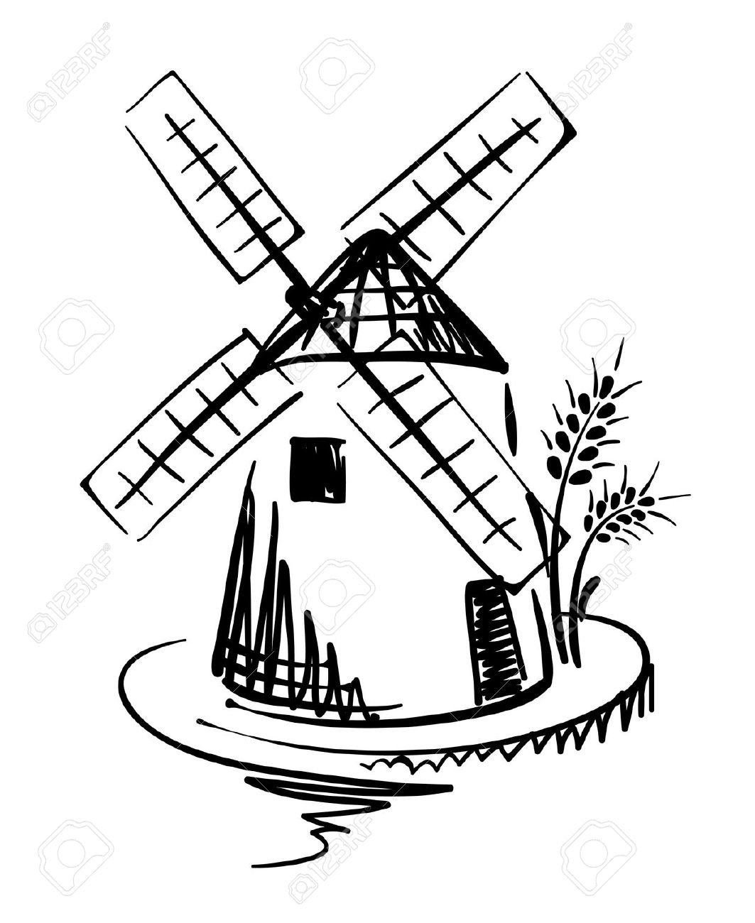 1063x1300 Windmill Clipart Black And White