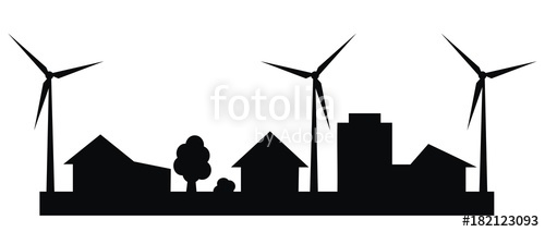 500x213 City, Wind Power Plant, Vector Icon, Silhouette Stock Image