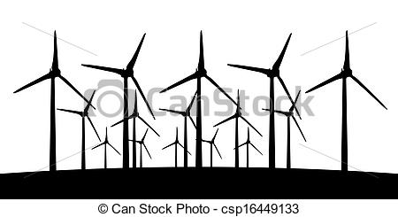 450x245 Group Of Aeolian Windmills In Perspective Silhouette. Large