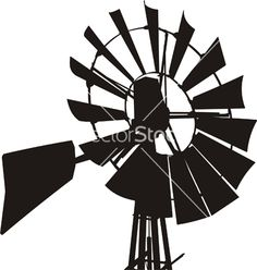 Windmill Silhouette Vector Free