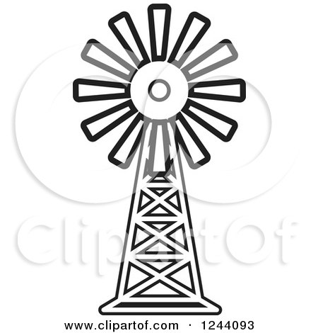 450x470 Clipart Of A Black And White Windmill