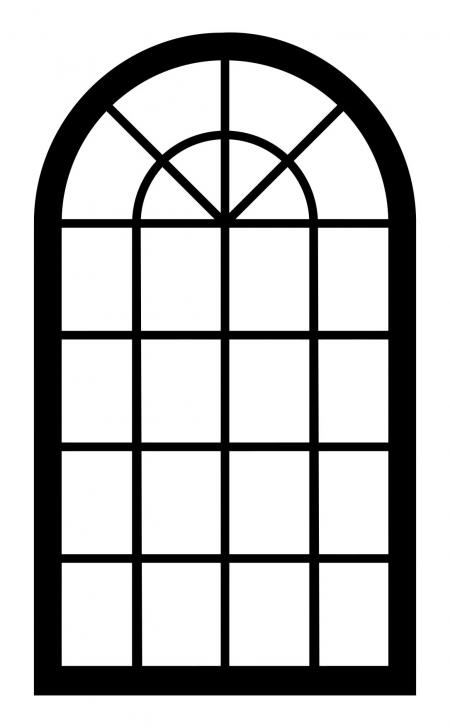 450x728 Window Frame Silhouette 2 Clipart