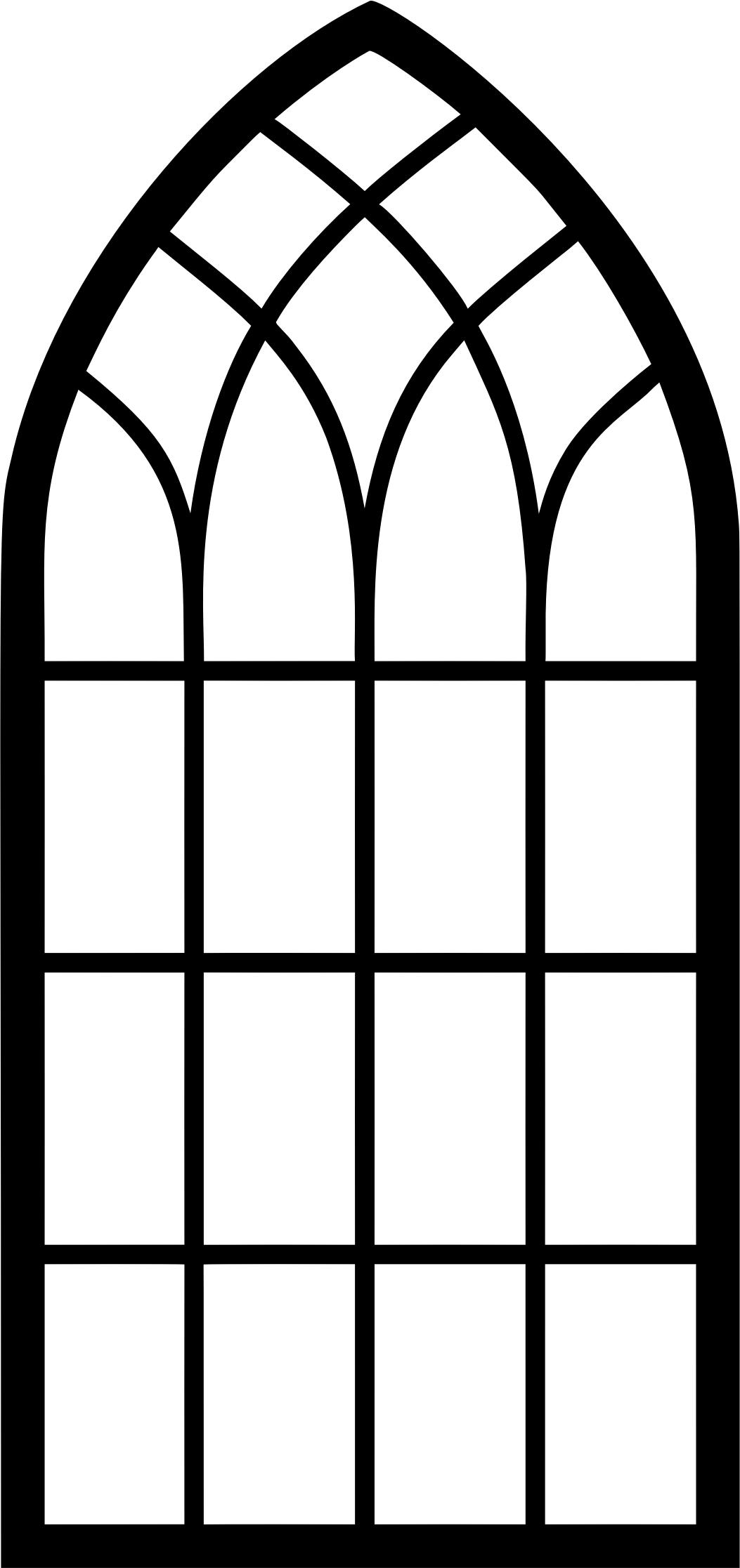 1053x2233 Window Frame Silhouette 2 Icons PNG