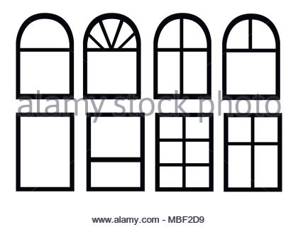 420x320 Window set. Different architectural style of windows doodle sketch