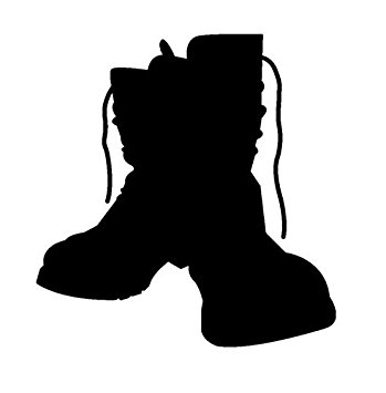 349x355 Military Boots Silhouette Vinyl Decal Window Sticker